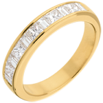 Semi-paved wedding ring yellow gold channel setting - 1 carat