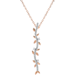gifts Shaft Necklace Enchanted Garden - Foliage Royal - pink gold and diamonds - 9 carats