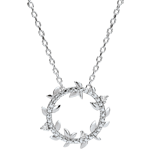 gifts woman Shaft Necklace Enchanted Garden - Foliage Royal - white gold and diamonds - 9 carats