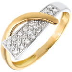 jewelry Siren ring yellow and white gold paved - 20diamonds
