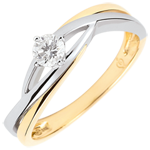 Solitair Nid Précieux - Dova- diamant 0.15 karaat - wit en geel goud 9 karaat
