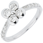 gifts woman Solitair Ring Freshness - Clover of the Lovers variation - 4 diamonds