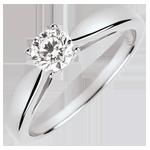 Solitair Roseau - diamant 0.4 karaat - wit goud 18 karaat