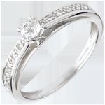 joaillerie Solitaire arceau or blanc pavé - diamant 0.15 carat