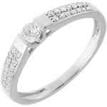 jewelry Solitaire arch paved white gold - 0.25 carat - 29diamonds