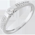 Solitaire arche or blanc 18 carats pavé - 0.12 carat - 29 diamants