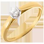 Solitaire Caldera - diamant 0.08 carat - or blanc et or jaune 18 carats