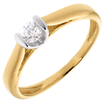 Solitaire Caldera - diamant 0.19 carat - or blanc et or jaune 18 carats
