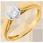 Solitaire Caldera - diamant 0.25 carats - or blanc et or jaune 18 carats
