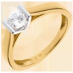 Solitaire caldera or jaune 18 carats-or blanc - 0.41 carats
