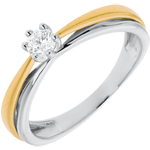 gift women Solitaire double-arch white and yellow gold