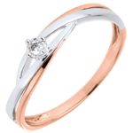 mariages Solitaire Dova - diamant 0.03 carat - or blanc et or rose 18 carats