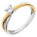 cadeau femme Solitaire Duetino or jaune-or blanc - 0.17 carat
