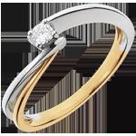 Solitaire Filament - diamant 0.08 carat - or blanc et or jaune 18 carats