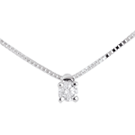 gold jewelry Solitaire necklace white gold - 0.07 carat