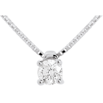 women Solitaire necklace white gold - 0.26 carat