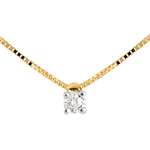 gift woman Solitaire necklace - Yellow gold - 0.07 carat - 18 carats