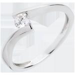 Solitaire Nid Précieux - Apostrophe - or blanc 18 carats - diamant 0.2 carat