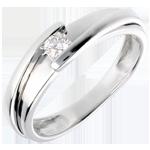 femme Solitaire Nid Précieux - Bipolaire - or blanc - diamant 0.13 carat - 18 carats