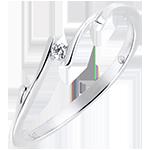 Solitaire Nid Précieux - Brindille - or blanc 9 carats et diamant