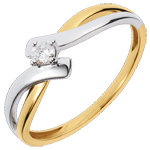 acheter on line Solitaire Nid Précieux - Chamaille - or jaune et blanc - diamant 0.08 carat - 18 carats