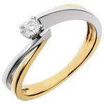 Solitaire Nid Précieux - Filament - diamant 0.13 carat - or blanc et or jaune 18 carats
