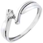 bijoux or Solitaire Nid Précieux - Jupiter - or blanc - diamant 0.05 carat - 18 carats
