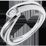 acheter en ligne Solitaire Nid Précieux - Ondine - or blanc - 1 diamant : 0.11 carat - 18 carats