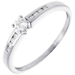 Solitaire Octave or blanc 18 carats - diamant 0.16 carat