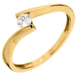 gift women Solitaire Precious Nest - Apostrophe - yellow gold - 0.16 carat diamond - 18 carats