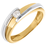 Solitaire Precious Nest - Contemporary - yellow gold and white gold - 18 carats