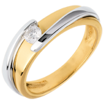 women Solitaire Precious Nest - Mecano- yellow gold-white gold - 0.17 carat - 18 carats