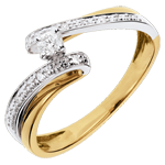 wedding Solitaire Precious Nest - Naiad Ring - white gold and yellow gold - 0.08 carat diamond - 18 carats