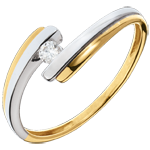 Solitaire Precious Nest - Solar System - yellow gold and white gold - 0.08 carat - 18 carats