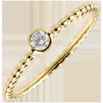 Solitaire Ring Gezouten Bloem - een ring - geel goud - 0,08 karaat - 9 karaat