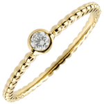 Solitaire Ring Gezouten Bloem - een ring - geel goud - 0,08 karaat - 18 karaat