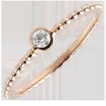 Solitaire Ring Gezouten Bloem - een ring - roze goud - 0,08 karaat - 18 karaat
