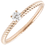 wedding Solitaire Ring Golden Rope - Pink Gold