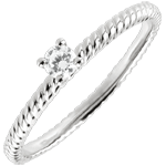 women Solitaire Ring Golden Rope - White Gold