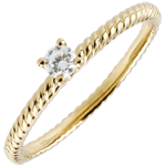 gift woman Solitaire Ring Golden Rope - Yellow Gold