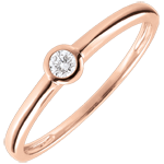 Solitaire Ring My Diamond– Pink gold – 0.08 carats – pink gold 9 carats