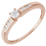 gold jewelry Solitaire Ring Octave - Pink gold - 0.21 carats - 9 diamonds
