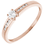 jewelry Solitaire Ring Octave - Pink gold - 0.27 carat - 9 diamonds