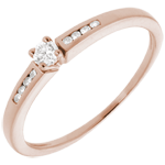 gifts Solitaire Ring - Pink gold and diamond