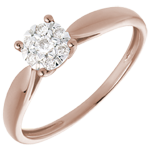 gold jewelry Solitaire Ring - Pink gold and diamond