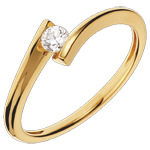 Solitaire Ring Precious Nest - Apostrophe - yellow gold - 0.13 carat diamond - 18 carats