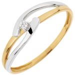 Solitaire Ring Precious Nest - Bicolor Union - yellow gold and white gold - 0.02 carat - 18 carats
