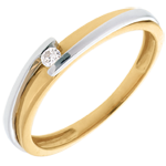 Solitaire Ring Precious Nest - Contemporary - yellow gold and white gold - 0.04 carat - 18 carats
