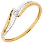 gifts woman Solitaire Ring Precious Nest - Elly - white gold and yellow gold - 18 carats