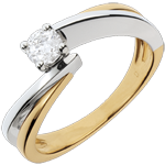 Solitaire Ring Precious Nest- Filament - yellow gold and white gold - 0.26 carat - 18 carats